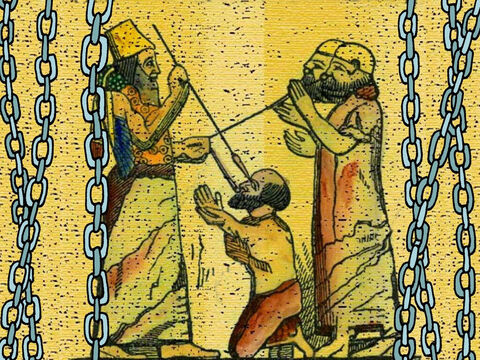 The Assyrians captured Manasseh and put him in chains. They put a ring in his nose and led him to Babylon as a prisoner. Here is a picture from a museum showing an Assyrian king hooking prisoners by their noses. – Slide 15