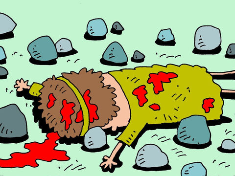The penalty for saying these bad things was death. So the innocent Naboth was taken out and stoned to death. – Slide 12