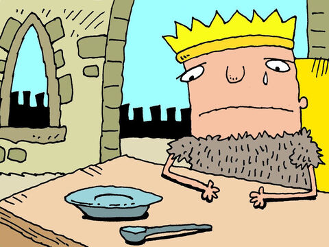 King Ahab tried to show how sorry he was. He ripped his royal clothes and put on horrible scratchy sackcloth. He stopped eating. – Slide 21