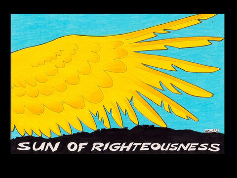 'But for you who revere my name, the sun of righteousness will rise with healing in its rays. And you will go out and frolic like well-fed calves.' Malachi 4:2 – Slide 23