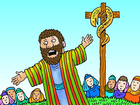 Jesus then referred to something that had happened many years before Nicodemus was born. 'As Moses in the wilderness lifted up the bronze image of a serpent on a pole, so I must be lifted up too, so that anyone who believes in me will have eternal life.' – Slide 10