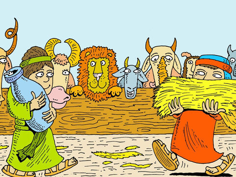 They were put in pens on the lower, middle or upper decks of the Ark that Noah had made. <br/>Seven days later the flood came. God closed the door of the Ark. – Slide 16