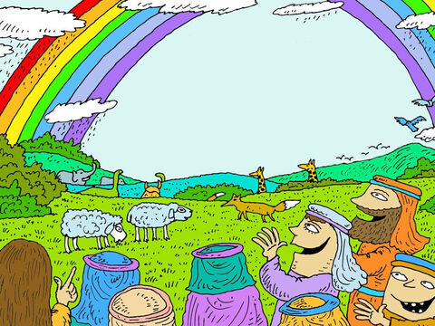 A few weeks later the land was dry enough for those onboard the ark to leave. A big rainbow filled the sky as a sign that God would never flood the whole earth again. – Slide 23