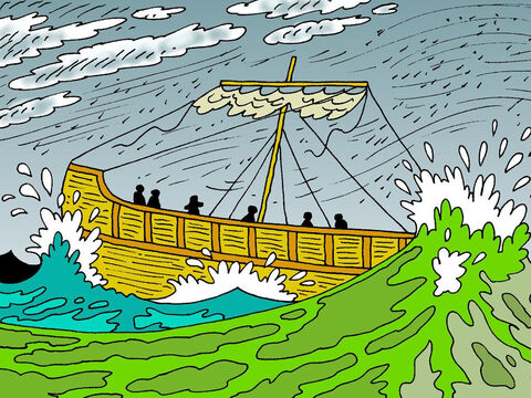 But then a heavy wind of typhoon strength, known as a 'northeaster, blew the ship out to sea. They tried to turn back to shore but couldn't, so they gave up and let the ship run before the gale. – Slide 8