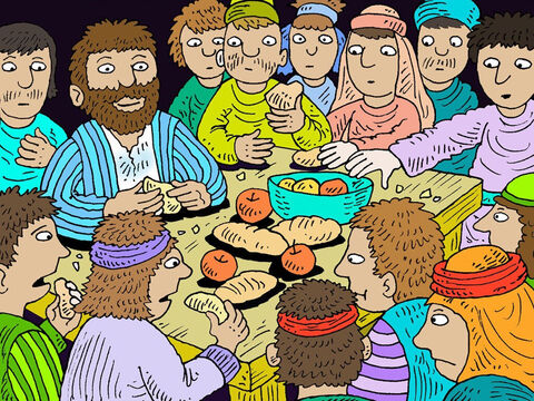 As the darkness gave way to the early morning light, Paul begged everyone to eat. 'You haven't touched food for two weeks,' he said. He gave thanks to God and they ate. He reassured them, 'Not a hair of your heads shall perish!' The ship then hit a sandbar and ran aground. The bow of the ship stuck fast, and the waves began to break it apart. – Slide 14