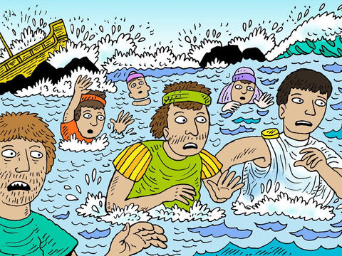 The soldiers wanted their commanding officer to let them kill the prisoners in case they swam ashore and escaped. But Julius wanted to spare Paul, so he refused. Then he ordered all who could swim to jump overboard and make for land, and the rest to hold on to planks and debris from the broken ship. – Slide 15