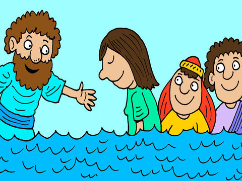 Then he and all his family were baptised. The jailor then took Paul and Silas back to his house for a meal. – Slide 18