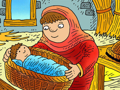 Jochebed showed her faith in God by hiding her baby Moses in a little floating basket. – Slide 4