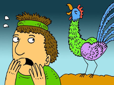 As Peter said the words, a rooster crowed. Peter remembered what Jesus had said. Peter walked out of the courtyard, crying bitterly. His faith was weak. Instead of having pure seeds of faith he was full of chaff and straw. – Slide 9