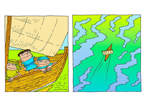 The men in the boat are tired. A gentle breeze tugs at the sail. – Slide 2