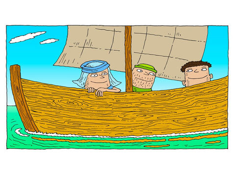 In the boat the disciples are wondering … <br/>How will Jesus get across the large lake? He does not have a boat. – Slide 7