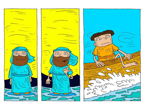 Jesus replies. 'Come on then.' <br/>Very cautiously, Peter lifts his leg over the side of the boat. – Slide 17