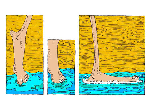 His toes touch the water. It's cold and wet, just like real water. He places his foot on the sea. He is now standing on the water. – Slide 18