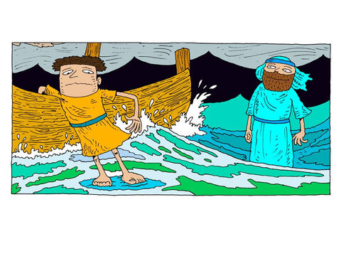 Peter holds onto the side of the boat, expecting to sink, but the water holds him up. – Slide 19