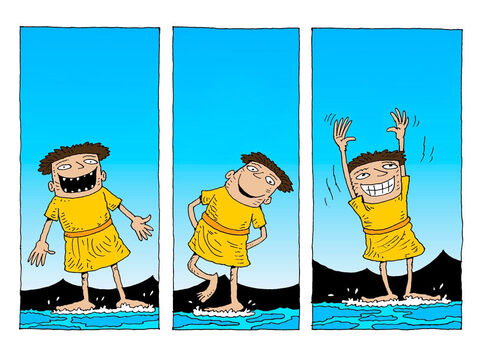 'Look at me,' thought an excited Peter. 'Hey just one foot. I'm doing the impossible – walking on water.' – Slide 21