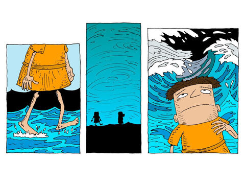 The boat is now out of reach. He keeps walking. But the wind is loud and the waves are crashing. – Slide 23