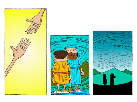 Jesus reaches out His hand and pulls Peter up to his feet again. <br/>'Peter, you have such little faith,' Jesus tells him, 'why did you doubt?' They both stand together on the water. – Slide 26