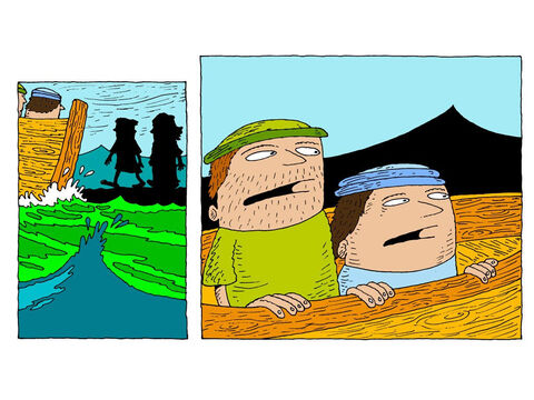 Then Jesus and Peter walk back to the boat together. The men on the boat watch in amazement. – Slide 27