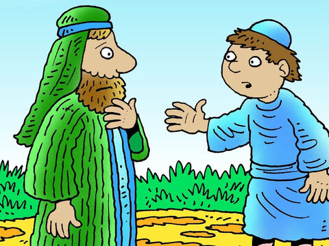 One day the younger son went to his father and demanded. 'Father I want you to give me my share of your inheritance now.' – Slide 2