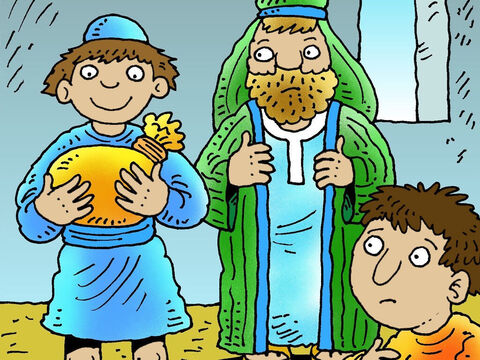 The father was sad but reluctantly agreed to give his rebellious son his share of the inheritance. – Slide 3
