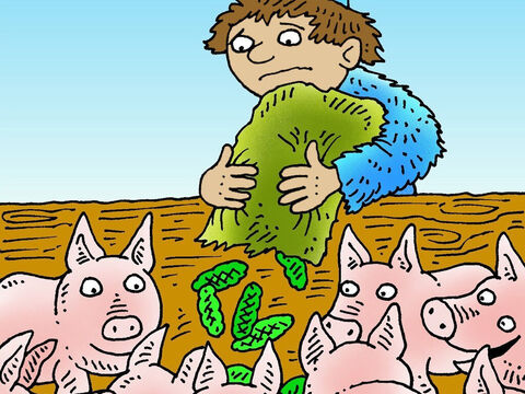 He was forced to look for a job but the only one he could find was looking after pigs. – Slide 6