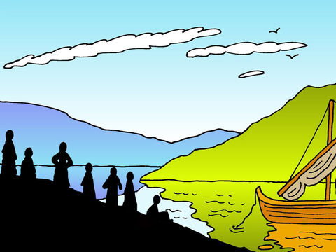 Later on, Jesus revealed Himself again to the disciples at the Sea of Galilee. This is what happened: Simon Peter, Thomas, Nathaniel, James and John, and two other disciples, were together. Simon Peter told them, 'I'm going fishing.' <br/>They all told him, 'We'll go with you, too.' – Slide 1