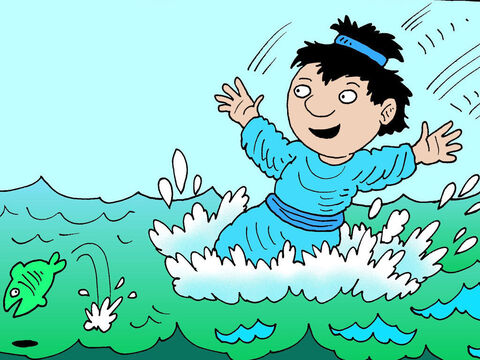 John told Peter, 'It's the Lord!' When Simon Peter heard that it was the Lord, he put his outer coat, and jumped into the sea. – Slide 5