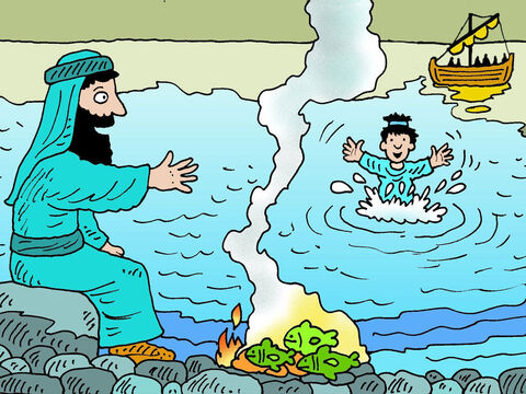 The other disciples followed in the boat, dragging the net full of fish. When they arrived at the shore, they saw a charcoal fire with fish lying on it, and some bread. – Slide 6