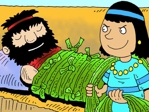 Samson answered, 'If they tie me up with seven new bowstrings that are not dried out, I'll be as weak as anybody else.' <br/>So the Philistine kings brought Delilah seven new bowstrings that were not dried out, and she tied Samson up. – Slide 11