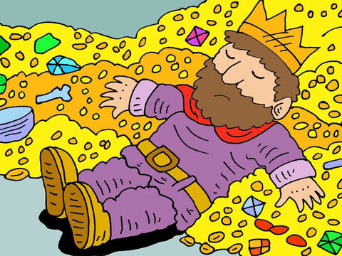 He collected silver and gold as taxes from many kings and provinces. He was the richest man on earth. But it did not bring him happiness. – Slide 14
