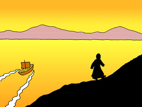 After feeding over 5,000 people with five loaves and two fish, Jesus told His disciples to get into their boat and go ahead of Him to the other side of Lake Galilee. Then Jesus went up on a mountainside by himself to pray. – Slide 1