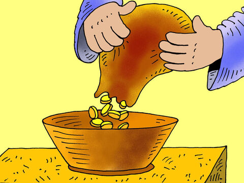 Many rich people made a big show of giving gold coins and large amounts of money. <br/>(Jesus on another occasion talked about hypocrites who were 'sounding a trumpet' before they gave - Matthew 6:2) – Slide 3
