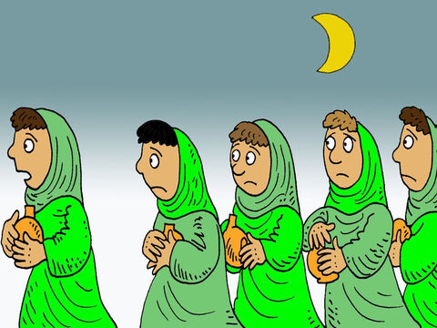 'No,' the five wise bridesmaids replied, 'there may not be enough for both us and you. Instead, go to those who sell oil and buy some for yourselves.' <br/>But while they were on their way to buy the oil, the bridegroom arrived. – Slide 7