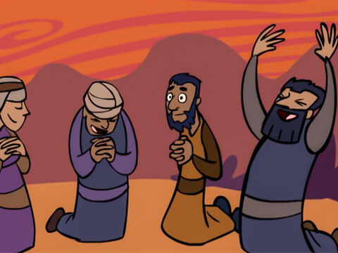Because of the mighty power God had used against the Egyptians, the Israelites worshipped Him. – Slide 34