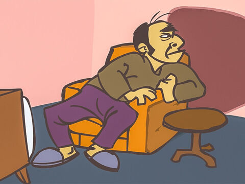 He settled down to watch television but was interrupted by a knock on the door. – Slide 11