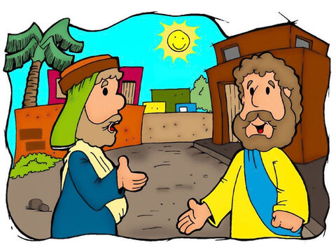 A teacher of the law asked Jesus, 'Teacher, what must I do to get life forever?' <br/>Jesus replied, 'What is written in the law?  <br/>The man answered, 'Love the Lord your God with all your heart, soul, strength, and mind. Also, love your neighbour as you love yourself.' <br/>Jesus said to him, 'You are right. Do this and you will have life forever.' <br/>The man then asked Jesus, 'And who is my neighbour?' – Slide 1