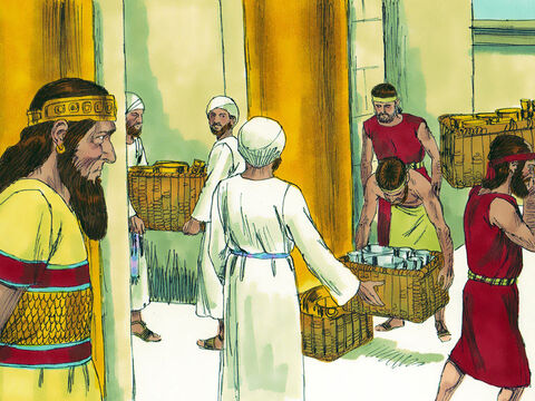 Their neighbours were very generous, giving them gifts. King Cyrus returned 5400 valuable objects of gold and silver the Babylonians had stolen from the Temple and gave them to Sheshbazzar the leader of Judah. – Slide 7