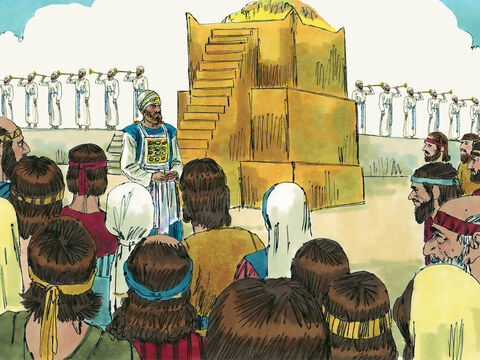 The first part of the project was to lay the foundations of the temple and when these were set, the people gathered to worship God. The priests and Levites led the worship, singing the same songs their ancestors had sung when the original temple had been built in the days of Solomon. – Slide 14