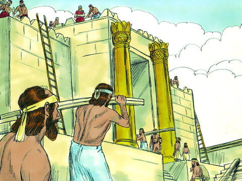 While they were waiting for the reply the Jews kept working. They wrote to Darius explaining that King Cyrus had given them permission to rebuild and had returned the gold and silver objects the Babylonians had taken from the Temple. – Slide 6