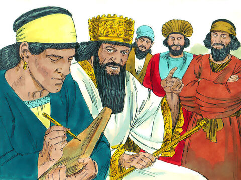 King Darius immediately gave orders to Tattenai, the chief official of the region, not to stop the temple being built and to keep the enemies of the Jews away from the building site. Furthermore, the work on the temple was to be paid from the taxes raised in the region. The priests were to be given animals for sacrifice and wheat, salt, wine and oil. Anyone who disobeyed this order, or tried to change this law, would be hanged. – Slide 9