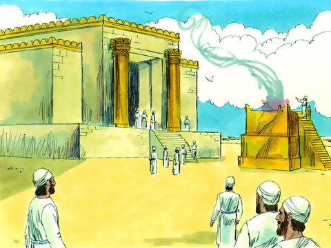 In the sixth year of the reign of King Darius the temple was finished. The people gathered for a special opening ceremony. – Slide 11