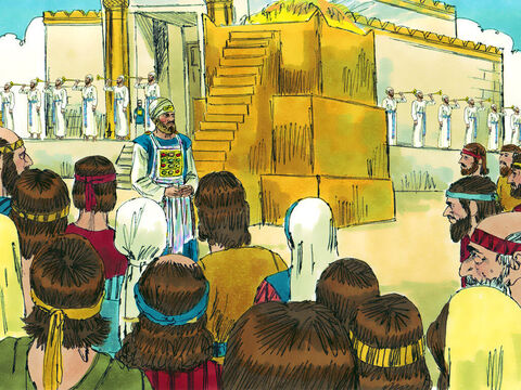 It was a happy occasion with sacrifices made for the sins of the people. Priests were appointed to look after the Temple and its work. The Passover was celebrated with great joy. – Slide 12
