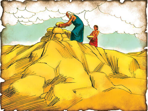 "Abraham Offers His Only Son - God Extends His Promise Through Isaac! 2060 B.C. Genesis 22: Abraham attempts to offer his only son Isaac to God as a living sacrifice and God sends an angel to stop him. ""Because you have done this thing, and have not withheld your son, your only son (Isaac) I will bless you, and multiplying I will multiply your descendants as the stars of the heaven and as the sand which is on the seashore."" – Slide 7"