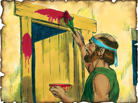 """God Says, """"Let My People Go"""" to Pharaoh! 1446 B.C. Exodus 12: God says, """"Let my people go"""" and sends 10 plagues on Egypt. After the Passover meal the Angel of Death delivers God's final plague and all the firstborn in Egypt are killed. He passes over the houses of the children of Israel, marked in the blood of the lamb and spares them from death. – Slide 13"""