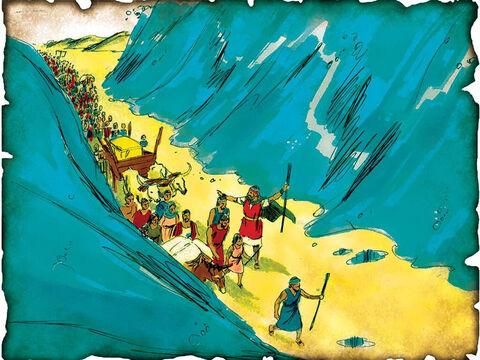 """Moses Leads Israel Out of Egypt, God Parts the Red Sea! 1446 B.C. Exodus 14: God sends a strong east wind and parts the Red Sea as Moses leads the people to freedom out of Egypt. God destroys the entire Egyptian army as the Red Sea crushes them. """"Let us flee from the face of Israel, for the LORD fights for them against the Egyptians."""" – Slide 14"""