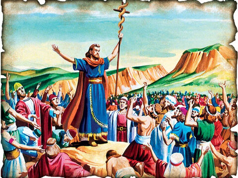 Sin in the Desert – Serpent on a Pole – Look, Believe and Live! 1410 B.C. Numbers 21: The nation of Israel sins again and rebels against God. In order to live they must by faith look up to the serpent on a pole to be saved and live. So Moses made a bronze serpent, and put it on a pole; and so it was, if a serpent had bitten anyone, when he looked at the bronze serpent, he lived. – Slide 16