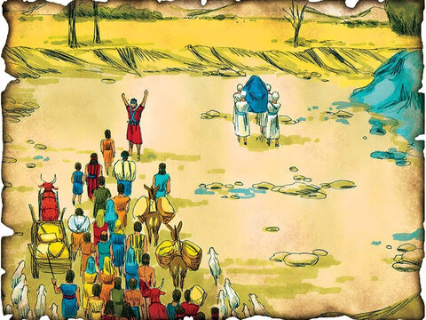 "Joshua Leads Israel into the Promised Land! 1405 B.C. Joshua 1&3: Joshua leads the nation of Israel. He crosses the Jordan river and leads the nation of Israel back into the Promised land that God gave to Abraham, Isaac and Jacob. ""Every place that the sole of your foot will tread upon I have given you, as I said to Moses."" – Slide 17"
