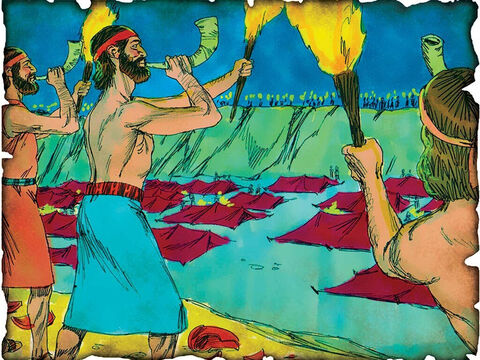 "Gideon, 300 Men and God Deliver the Nation! 1190 B.C. Judges 7: Gideon begins to conquer the enemy in the Promised Land and to take what God has given by His covenant promise to the nation of Israel. When the three hundred blew the trumpets, ""The LORD set every man's sword against his companion throughout the whole camp."" – Slide 18"