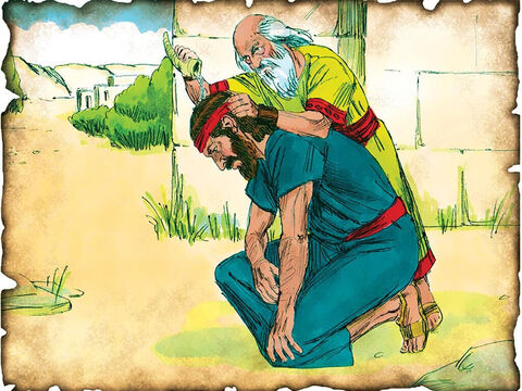 """God Gives Israel its First King Saul! 1050 B.C. I Samuel 9: The people rebel against God as King over the nation and God gives them their first king, according to their desires. King Saul rules over them. """"And Kish had a choice and handsome son whose name was Saul."""" – Slide 19"""