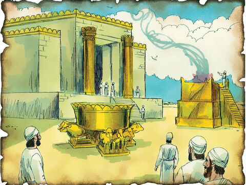 "King Solomon Builds God's Temple in Jerusalem! 966 B.C. I Kings 5: David's son, King Solomon, as God prophesied, builds a beautiful temple to honor God and a place to worship the Lord God of heaven and earth. ""Your son, whom I will set on your throne in your place, he shall build the house for My name."" – Slide 23"